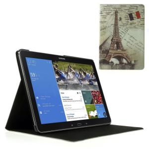 For Samsung Galaxy Note Pro 12.2 P900 / Tab Pro 12.2 T900 Eiffel Tower Vintage Design Leather Skin Cover w/ Stand