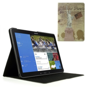 For Samsung Galaxy Note Pro 12.2 P901 / Tab Pro 12.2 T900 USA the Statue of Liberty Retro Leather Case w/ Stand