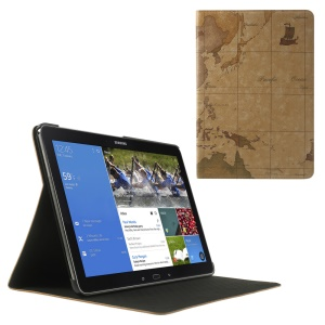 Brown World Map Leather Skin Flip Cover w/ Stand for Samsung Galaxy Note Pro 12.2 P900 / Tab Pro 12.2 T905