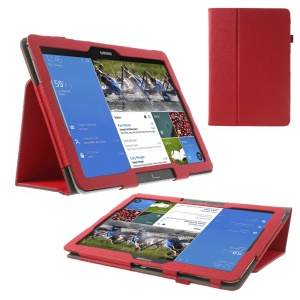 Red Cross Texture Leather Wallet Cover for Samsung Galaxy Note Pro 12.2 P905 / Tab Pro 12.2 T900 w/ Elastic Hand Strap & Stand