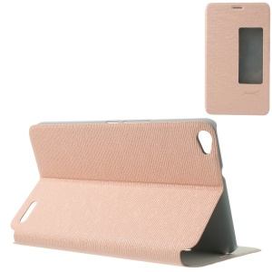 MYSKY Cloth Texture View Window Smart Auto Wake / Sleep Leather Case for Huawei MediaPad X1 7.0 - Pink