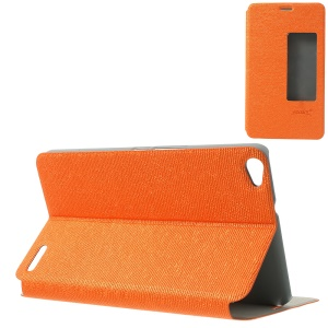 MYSKY Cloth Texture for Huawei MediaPad X1 7.0 View Window Smart Auto Wake / Sleep Leather Case - Orange