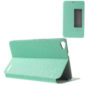 MYSKY Cloth Texture for Huawei MediaPad X1 7.0 View Window Smart Auto Wake / Sleep Leather Cover - Cyan