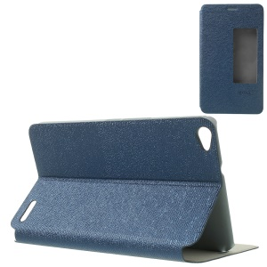 MYSKY Cloth Texture for Huawei MediaPad X1 7.0 View Window Smart Wake / Sleep Leather Cover - Dark Blue