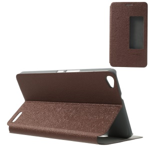 MYSKY Cloth Texture for Huawei MediaPad X1 7.0 Smart Wake / Sleep Leather Flip Case w/ View Window - Coffee