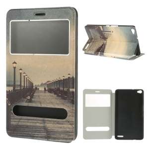 Beautiful Seaside Dual View Windows Silk Texture Leather Stand Case for Huawei MediaPad X1 7.0