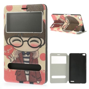 Cute Girl Pattern Dual View Windows Silk Texture Leather Cover Stand for Huawei MediaPad X1 7.0