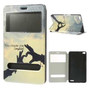 You Made Me Complete Silk Texture Leather Case w/ Dual View Windows for Huawei MediaPad X1 7.0
