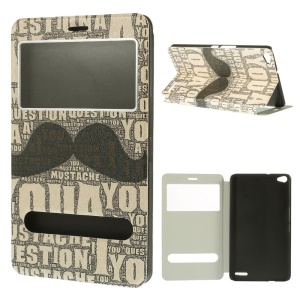 Mustache & Words Silk Texture Stand Leather Shell w/ Dual View Windows for Huawei MediaPad X1 7.0