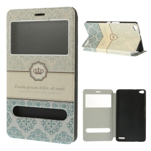 Crown & Lace Dual View Windows Silk Texture Stand Leather Skin Case for Huawei MediaPad X1 7.0