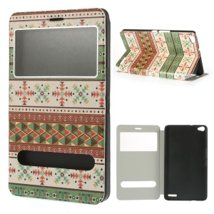 Tribal Style for Huawei MediaPad X1 7.0 Silk Texture Stand Leather Cover w/ Dual View Windows