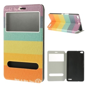 Colorful Stripes for Huawei MediaPad X1 7.0 Dual View Windows Silk Texture Stand Leather Tablet Case