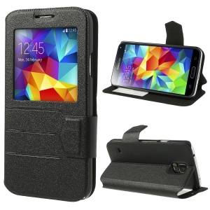 Black for Samsung Galaxy S5 G900 Magnetic Sand-like PU Leather Case w/ Stand & View Window