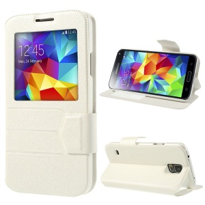 White for Samsung Galaxy S5 G900 Magnetic Sand-like PU Leather Case w/ Stand & View Window