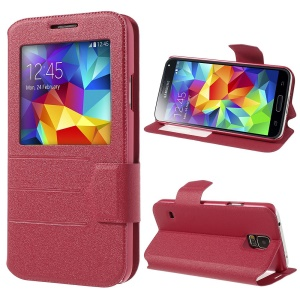 Rose for Samsung Galaxy S5 G900 Magnetic View Window Sand-like PU Leather Case Stand