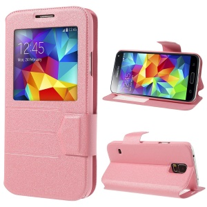 Pink for Samsung Galaxy S5 G900 Magnetic View Window Sand-like PU Leather Cover Stand
