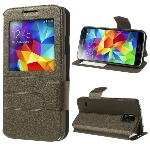 Coffee for Samsung Galaxy S5 G900 Magnetic View Window Sand-like Leather Flip Cover Stand