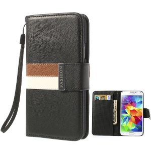 For Samsung Galaxy S5 G900 G900H Tri-color Magnetic Cross Grain Leather Wallet Case - Black
