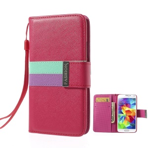 Fashion Tri-color Magnetic Cross Leather Wallet Cover for Samsung Galaxy S5 G900 w/ Strap - Rose