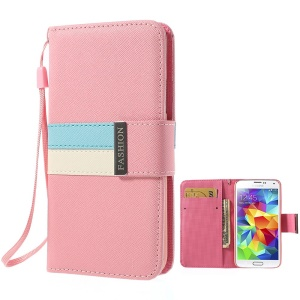 Fashion Tri-color Magnetic Cross Leather Wallet Cover for Samsung Galaxy S5 G900 w/ Strap - Pink