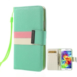 Fashion Tri-color Magnetic Cross Leather Wallet Cover for Samsung Galaxy S5 G900 G900T - Mint