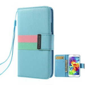 Fashion Tri-color Magnetic Cross Leather Flip Cover for Samsung Galaxy S5 G900 G900V w/ Card Slots & Strap - Blue