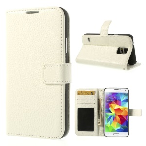 White Lychee Skin Genuine Full Grain Leather Magnetic Case w/ Stand for Samsung Galaxy S5 G900