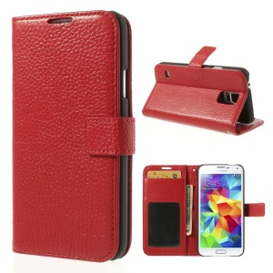 Red Lychee Skin Genuine Full Grain Leather Card Holder Case for Samsung Galaxy S5 G900
