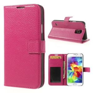 Rose Lychee Skin Genuine Full Grain Leather Case w/ Stand for Samsung Galaxy S5 G900
