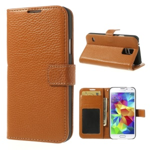 Brown Lychee Skin Genuine Full Grain Leather Cover w/ Stand for Samsung Galaxy S5 G900