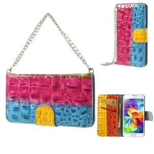 Crocodile Handbag Style Leather Flip Wallet Case for Samsung Galaxy S5 G900H - Rose / Blue