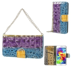 Crocodile Handbag Style Leather Wallet Cover for Samsung Galaxy SV G900 G900H - Purple / Blue