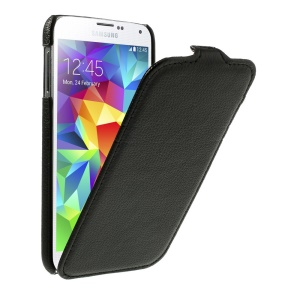 Lychee Leather Skin Vertical Flip Case for Samsung Galaxy SV GS 5 G900 G900H - Black