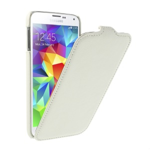 Lychee Leather Skin Vertical Flip Case for Samsung Galaxy SV GS 5 G900 G900K - White
