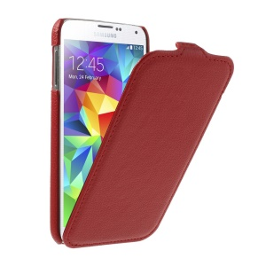 Lychee Texture Leather Vertical Flip Cover for Samsung Galaxy SV GS 5 G900 G900F - Red