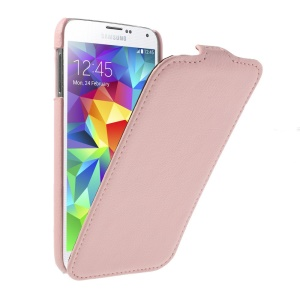 Lychee Texture Leather Vertical Flip Cover for Samsung Galaxy SV GS 5 G900 G900I - Pink