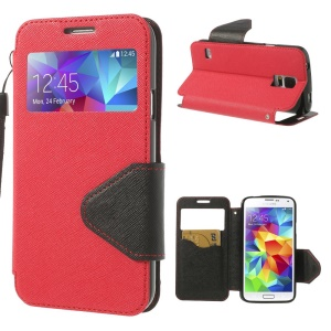 Cross Texture Leather Card Slot Case w/ View Window for Samsung Galaxy S5 G900H - Red