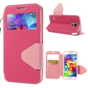 Cross Texture Flip Leather Stand Cover w/ View Window for Samsung Galaxy S5 G900I - Rose