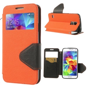 Cross Texture Window View Magnetic Leather Shell for Samsung Galaxy S5 G900K - Orange