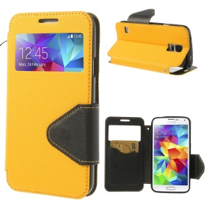 Cross Texture Window View Magnetic Leather Cover for Samsung Galaxy S5 G900A - Yellow