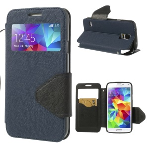 Cross Texture Window View Flip Leather Cover for Samsung Galaxy S5 G900R4 - Dark Blue