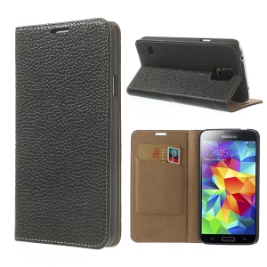 Black Litchi Leather Skin Case w/ Card Slot for Samsung Galaxy S5 GS 5 G900