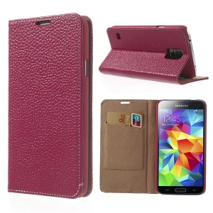 Rose Litchi PU Leather Card Slot Cover for Samsung Galaxy S5 GS 5 G900