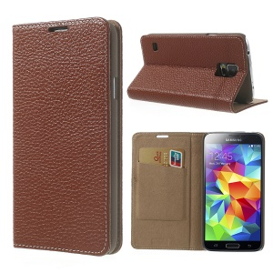 Brown Litchi Leather Cover + Plastic Case for Samsung Galaxy S5 GS 5 G900
