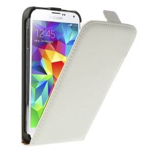 White Matte Leather Magnetic Vertical Flip Cover for Samsung Galaxy S5 GS 5 G900