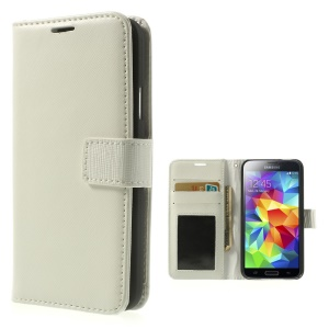 Cross Texture Leather Flip Wallet Cover for Samsung Galaxy SV GS 5 G900 - White