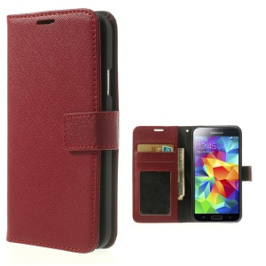 Cross Texture Leather Wallet Shield Cover for Samsung Galaxy SV GS 5 G900 - Red