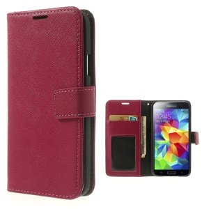 Cross Texture Leather Wallet Shield Case for Samsung Galaxy SV GS 5 G900 - Rose