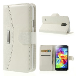 Lychee Leather Flip Wallet Stand Case for Samsung Galaxy SV GS 5 G900 - White