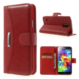 Lychee Magnetic Flip Leather Case w/ Card Slots for Samsung Galaxy SV GS 5 G900 - Red